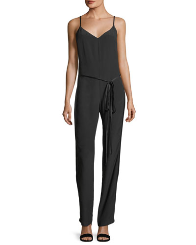 Rosa Sleeveless V-Neck Straight-Leg Silk Jumpsuit