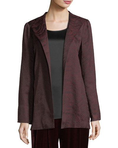 Silk-Blend Jacquard Wave Jacket, Plus Size