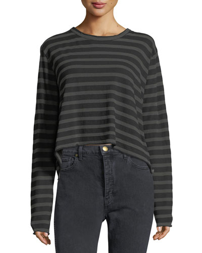 Long-Sleeve Striped Cotton Crop Tee