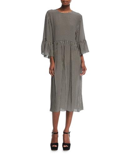 The Sweetie Gingham-Print Silk Midi Dress