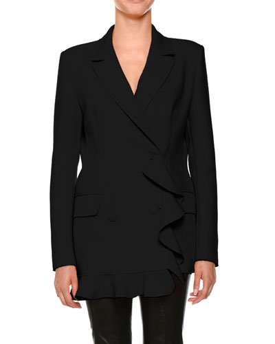 Ruffle Double-Breasted Blazer