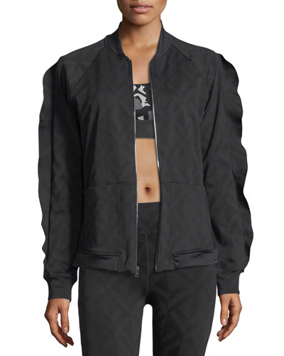 KORAL Glance Jacquard Bomber Jacket in Black Pattern