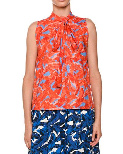 Palm-Print Tie-Neck Blouse