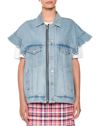 Short-Sleeve Denim Jean Jacket