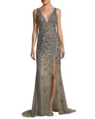 Sequined Deep V-Neck Evening Gown