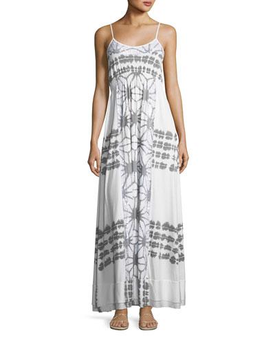 Scoop-Neck Printed Maxi Dress