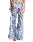 Printed Flared Sheer Mesh Pants