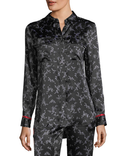 Slim Signature Button-Front Pajama Silk Satin Shirt
