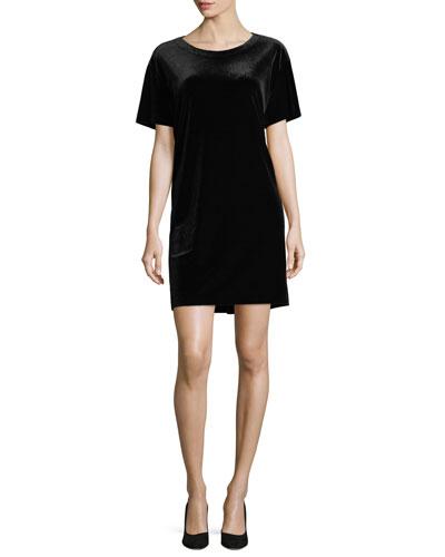 Velvet Short-Sleeve Shift Dress