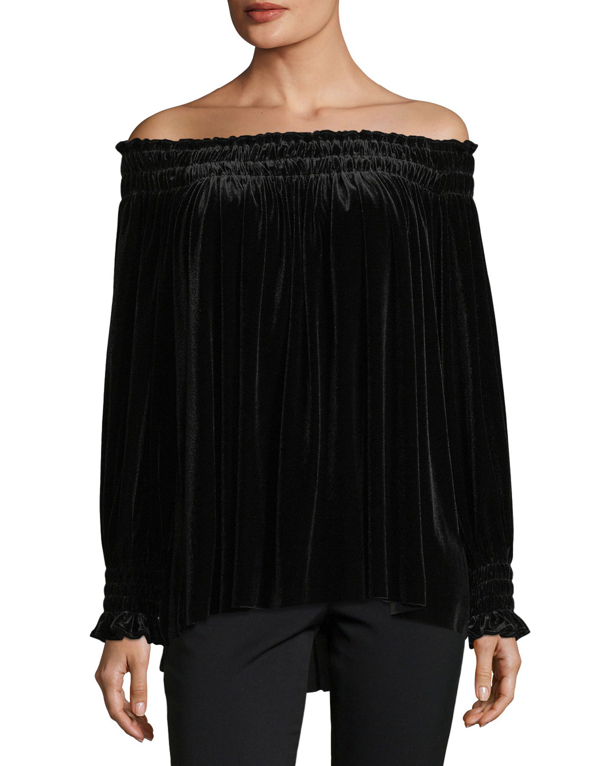 Velvet Off-Shoulder Peasant Top