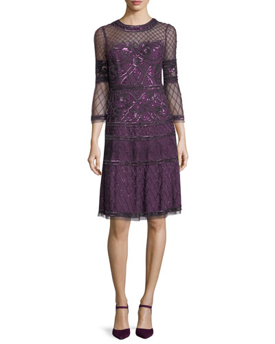 5c8f374ade2 Quick Look. Aidan Mattox · Embroidered Sheer Bell-Sleeve Cocktail Dress