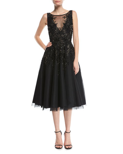 Beaded Tea-Length Cocktail Dress