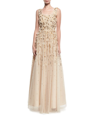 Rosette Beaded Evening Gown