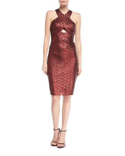 Sequin Halter Crossover Cocktail Dress