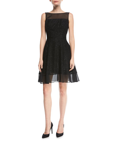 Metallic Burnout Cocktail Dress w/ Illusion Neck