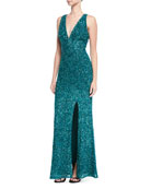 Sequin V-Neck Evening Gown