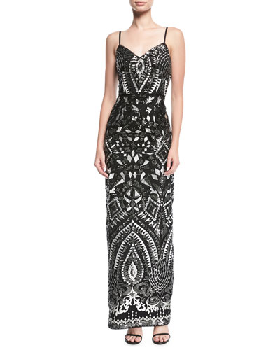 Embroidered Sleeveless Sequined Evening Gown