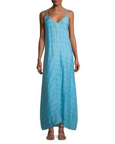 V-Neck Sleeveless Printed Maxi Dress