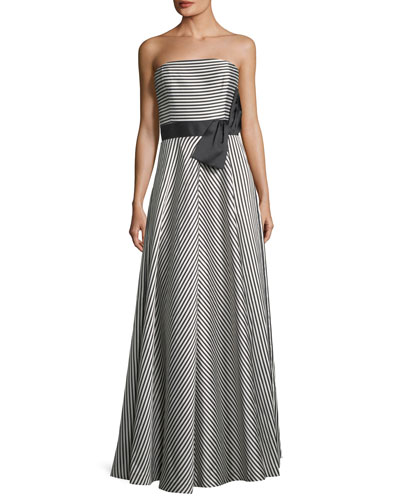 Strapless Striped A-Line Gown