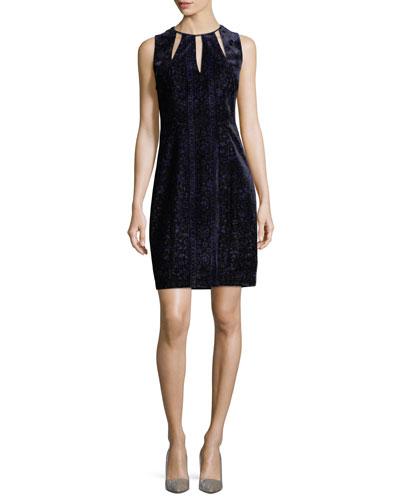 Jemra Sleeveless Velvet Sheath Dress, Mystic Grape