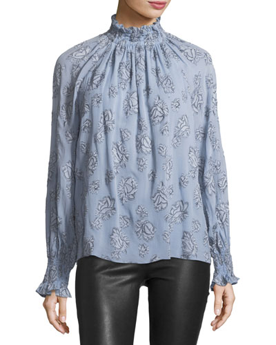 Mock-Neck Long-Sleeve Rose-Print Silk-Blend Top