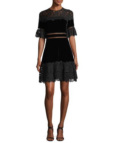 Short-Sleeve Jewel Neck Velvet & Lace Dress