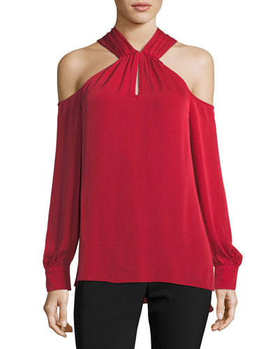 Mitchell Long-Sleeve Silk Halter Top