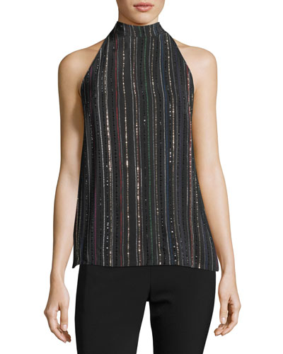 Logan Sleeveless Metallic Dotted Stripe Silk Top