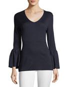 V-Neck Ruffle-Cuff Silk/Cashmere Sweater