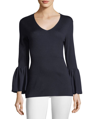 V-Neck Ruffle-Cuff Silk/Cashmere Sweater