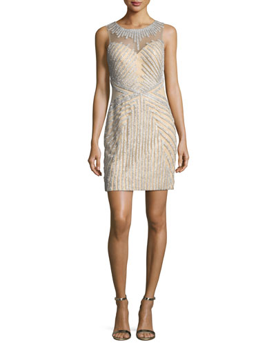 Beaded Strapless Illusion Cocktail Dress