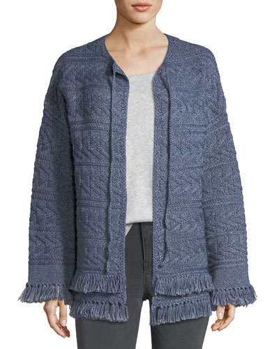 The Cable-Knit Chevron Cotton Sweater w/ Fringe