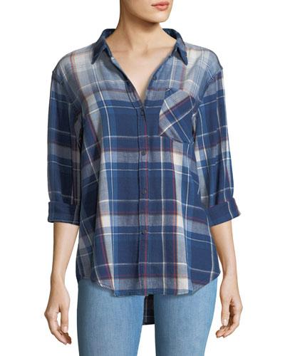 The Boyfriend Indigo-Plaid Oversized Cotton Shirt