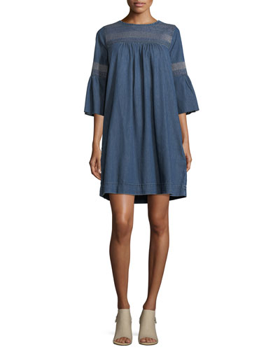 The Abigail Embroidered Denim Dress