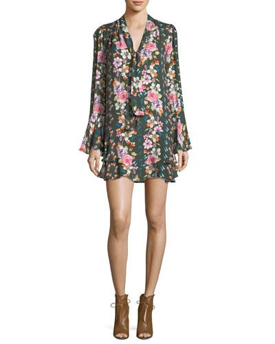 Cathryn Tie-Neck Floral-Print Dress