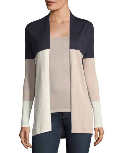 Cashmere Colorblock Open-Front Cardigan