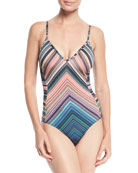 Spectrum Striped Strappy-Back One-Piece Swimsuit