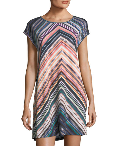 Chevron-Striped Scoop-Neck Coverup Dress