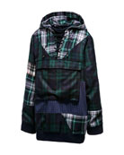 Patchwork Plaid Lace-Up Hoodie