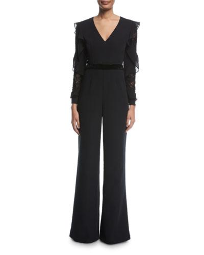 Byblos Lace Long-Sleeve Ruffle Jumpsuit