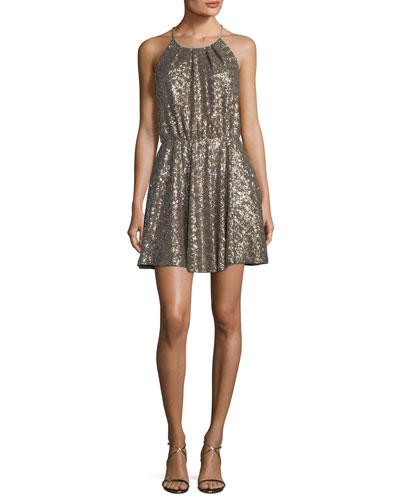 Isabel Halter Fit & Flare Sequin Dress