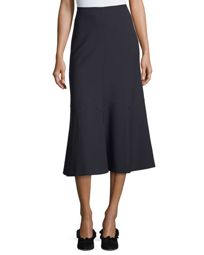 Flared-Hem Crepe Midi Skirt