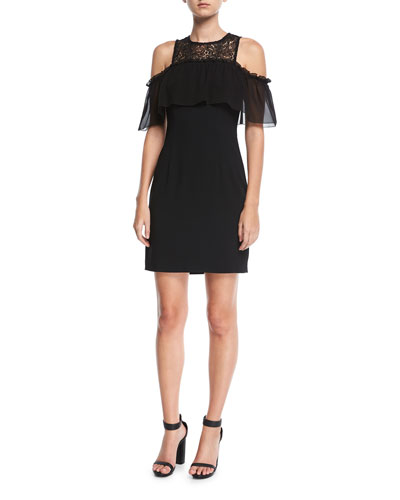 Crepe Cold-Shoulder Mixed-Media Lace Illusion Dress