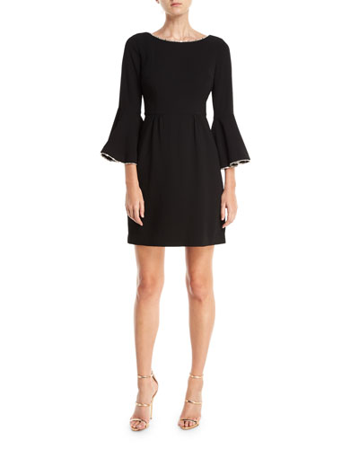 Crepe Full Bell-Sleeve Dress w/ Crystal Detail