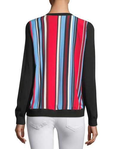 Cashmere Striped-Back Cardigan