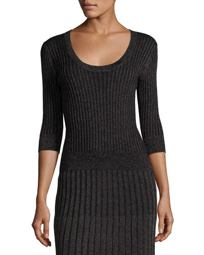 Scoop-Neck Fitted Metallic Ribbed Pullover Top