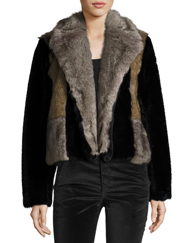 Patched Faux-Fur Jacket