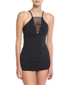 Active High-Neck Solid Tankini Swim Top