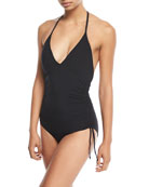 Active Deep-V Ruched-Side Halter Maillot One-Piece Swimsuit