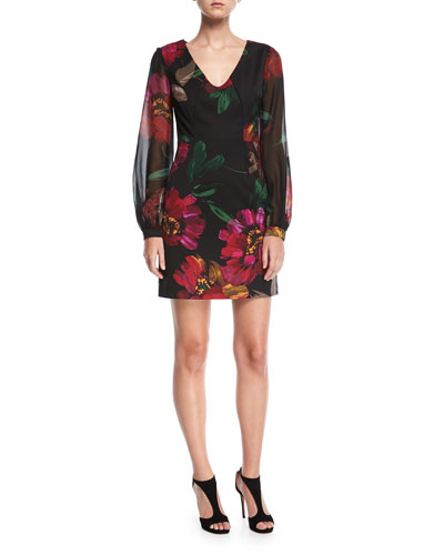 Floral-Print Faille V-Neck Dress